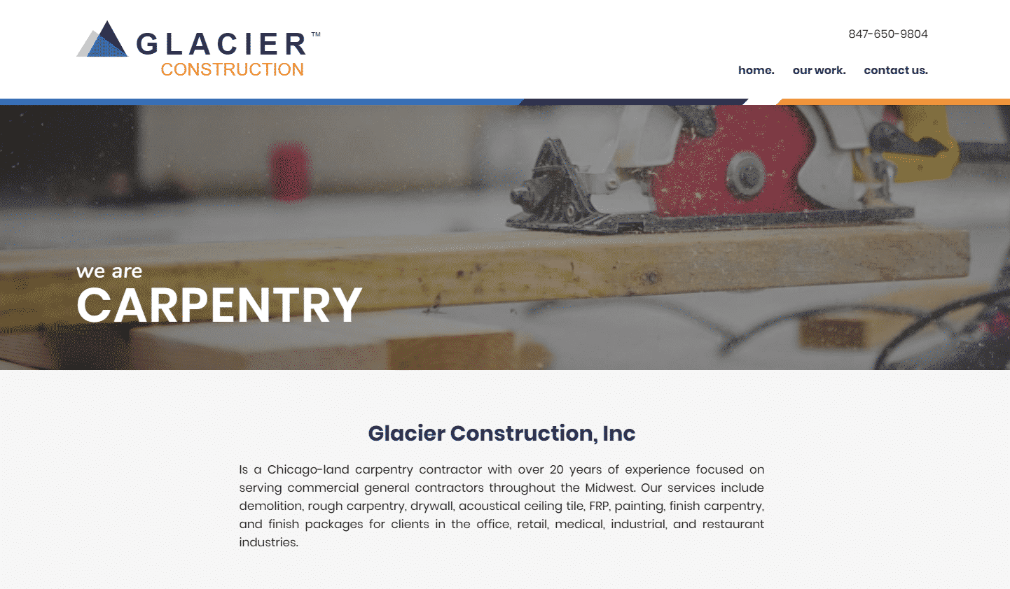 A screen shot of the Glacier Construction, INC home page